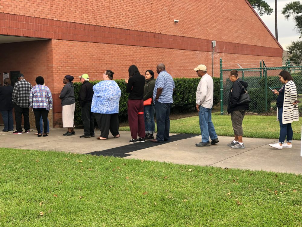 Voters line up to vote at an early voting location in Greater Houston in 2018.