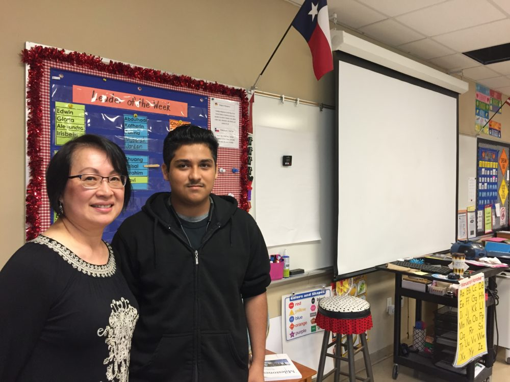 Lotus Hoey teaches English as a second language at Pershing Middle School in Southwest Houston. She said she learned from her student Emiliano Campos not to take students' attitudes and behavior personally. This year, Emiliano has returned to her classroom as a teacher's assistant.