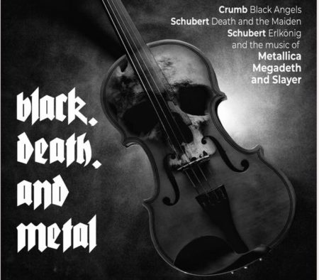 Concert poster for Axiom Quartet with violin and superimposed skull