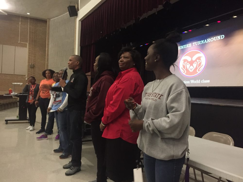 Kashmere High School's new principal, Reginald Bush, introduced members of his team at a community meeting Thursday.