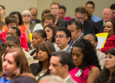 Houston ISD principals listen at their monthly meeting in September 2013.