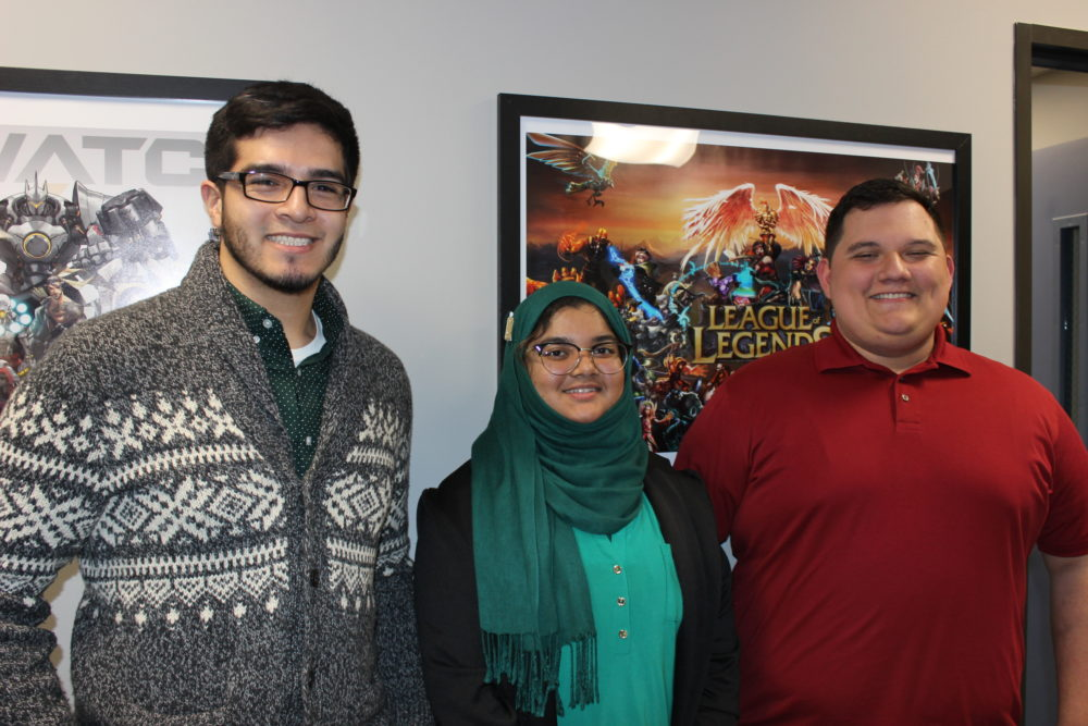 UH-D students Ignasio Hernandez, Eashrak Zubair and Richard Rodriguez were part of a group of students who helped envision the new esports center, down to the clutch gaming chairs.