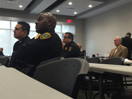 Police officers with several different agencies participated in a training about how to interact with civilians at Crime Stoppers of Houston Monday, Dec. 17, 2018.