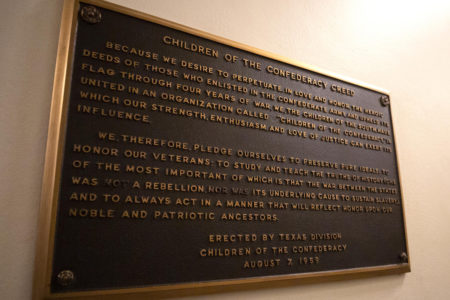 Confederate Plaque in the Texas Capitol