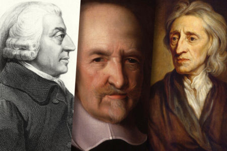 Philosophers Adam Smith, Thomas Hobbes, and John Locke