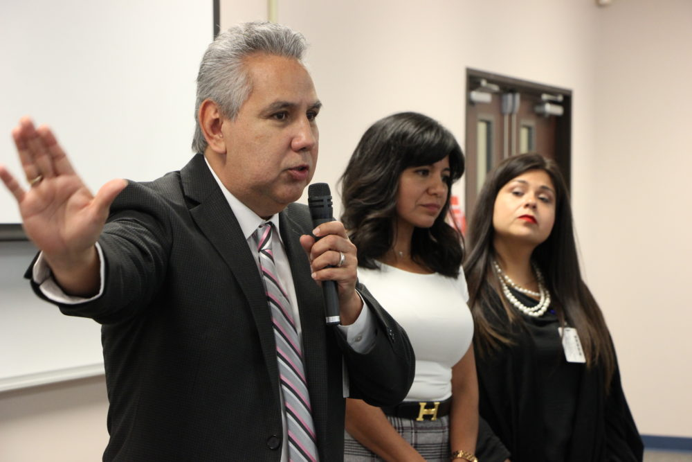 HISD Trustees Sergio Lira, Diana Dávila and Elizabeth Santos speak at a community meeting where local leaders and parents gave their input on the superintendent search. Last fall, the three trustees voted to abruptly fire the current interim superintendent, Grenita Lathan.