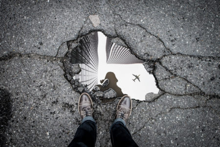 reflection in a pothole
