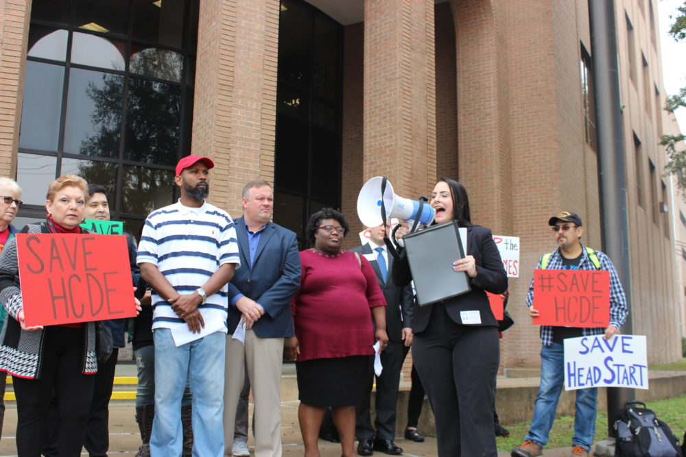 Andrea Duhon leads a rally to preserve the Harris County Department of Education. Duhon ran for a seat on the board in 2018 but lost.