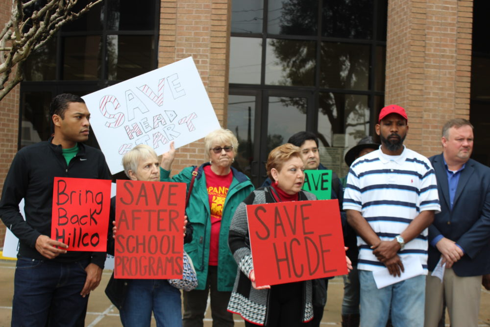 Education advocates protest outside the Harris County Department of Education.