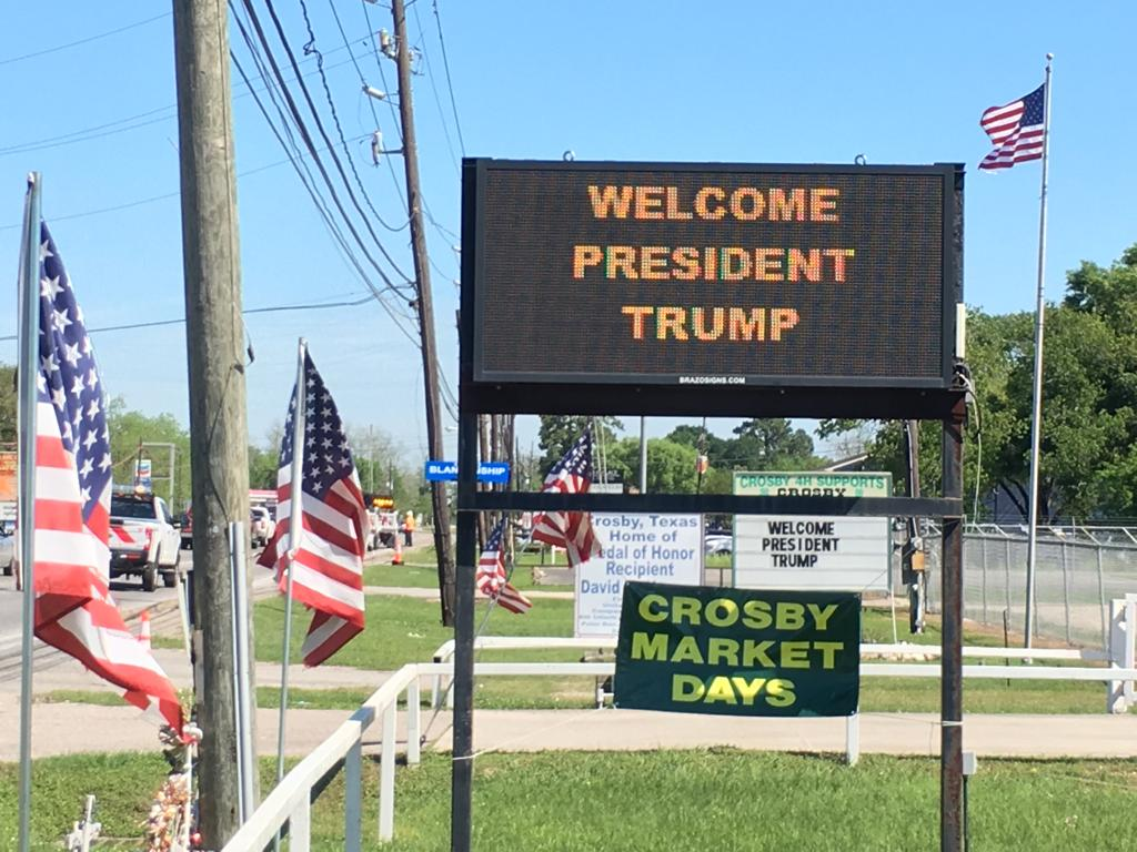 The City of Crosby displayed signs welcoming the visit by President Donald Trump on April 10, 2019.