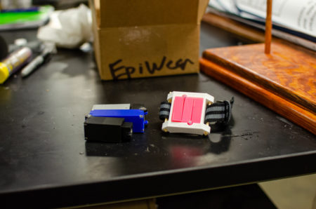 The team's 2x-scale prototype (left) and their target form factor (right)