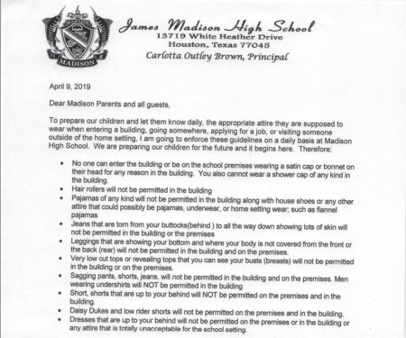 Principal Carlotta Outley Brown issued this memo to parents earlier in April.