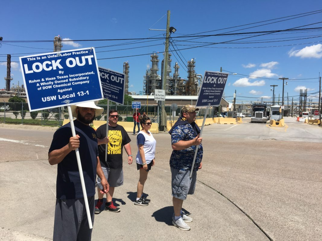 Workers Protest Lockout At Dow Chemical Plant In Deer Park