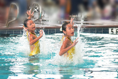 Synchronized Swimmers Ella Wei and Mae Chen