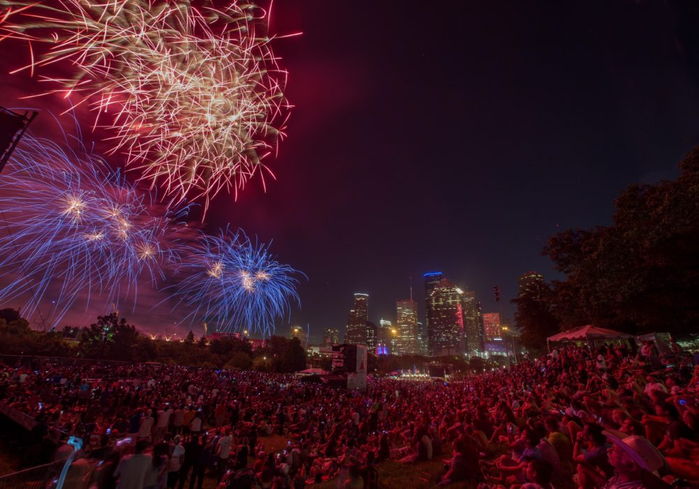 Fireworks from Citgo Freedom Over Texas event.