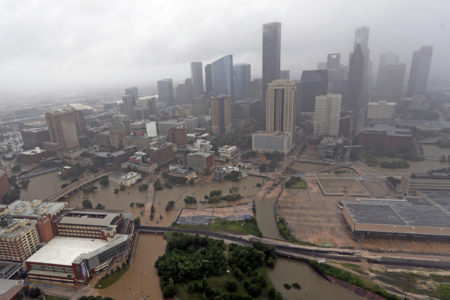 Flooding in Downtown Houston During Harvey
