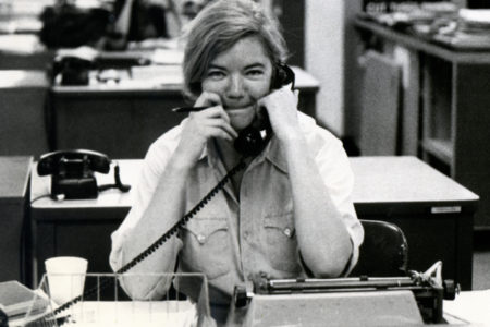 Molly Ivins at Her Desk