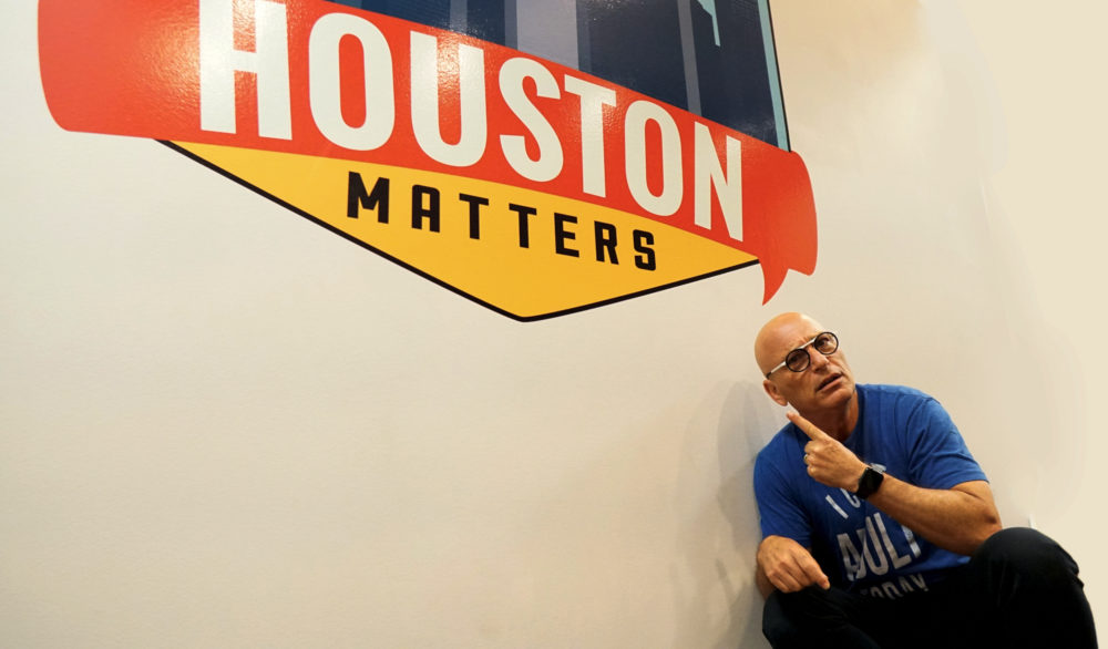 Howie Mandel Posing with the Houston Matters Logo