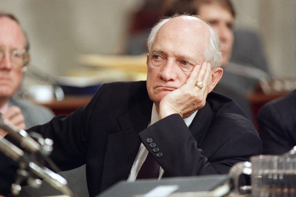 Rep. Jack Brooks during the Iran-Contra hearings