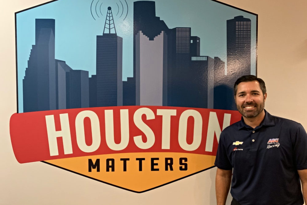 Larry Foyt with the Houston Matters Logo