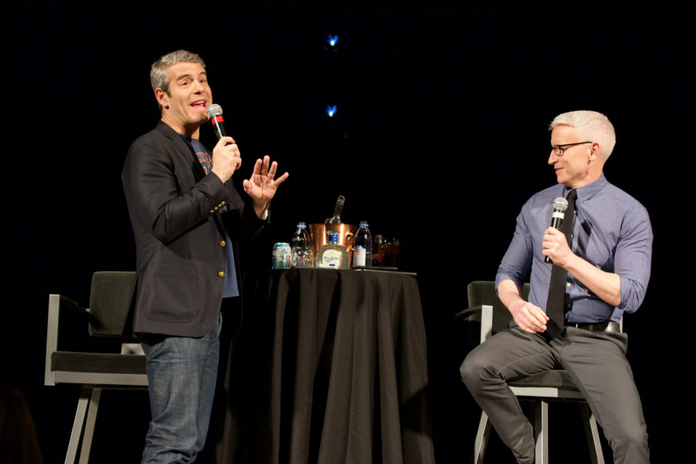 Andy Cohen and Anderson Cooper On Stage