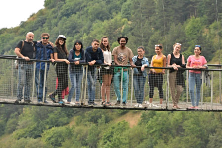 Peace Corps Volunteers on the Khndzoresk Bridge