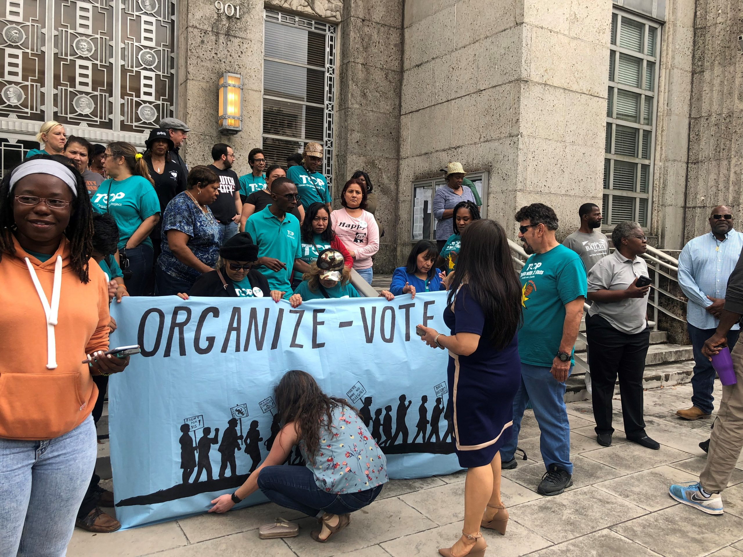 At a rally outside Houston City Hall in November, District B residents demanded the runoff election be on the December ballot.