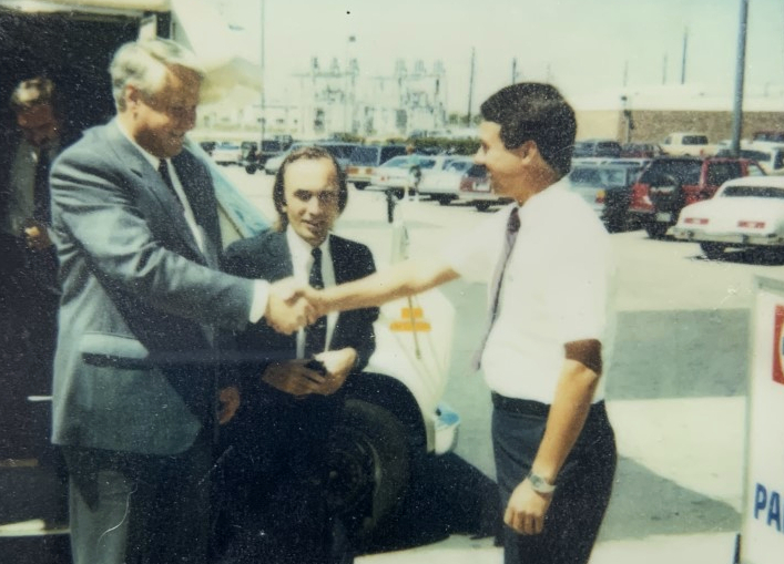 Paul Yirga Greeting Boris Yeltsin