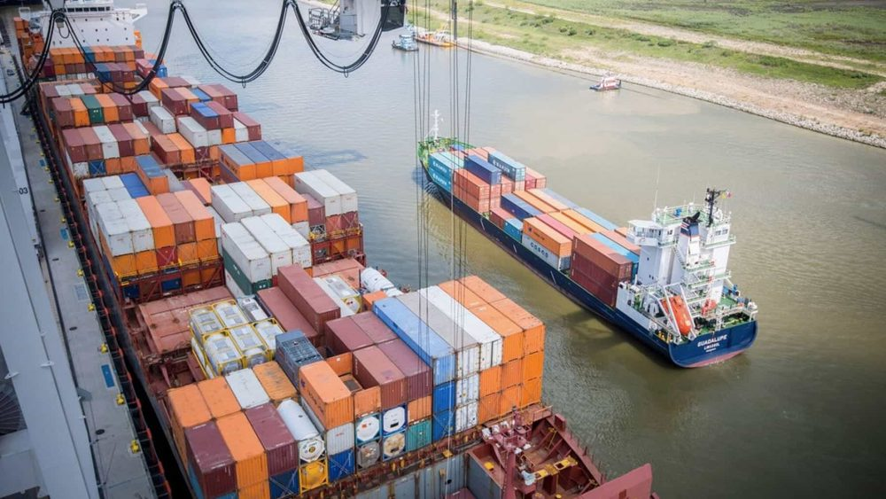 Container Ship Being Loaded - Port of Houston