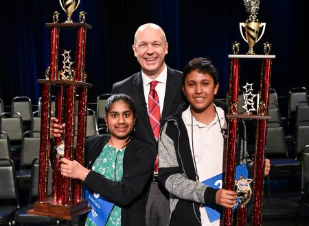 Champion Keerthana Krishnan (left) and Runner Up Sajid Fahmid (right), with HPM Station Manager Josh Adams