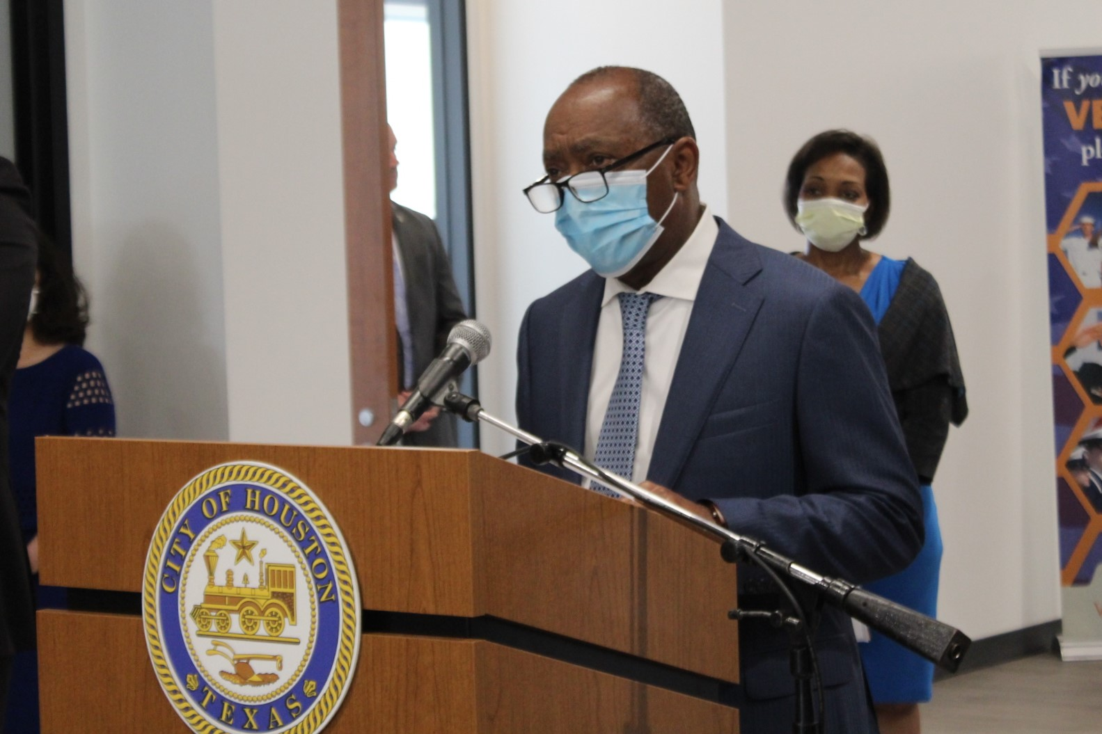 Mayor Sylvester Turner at a press conference Monday, April 6, 2020.
