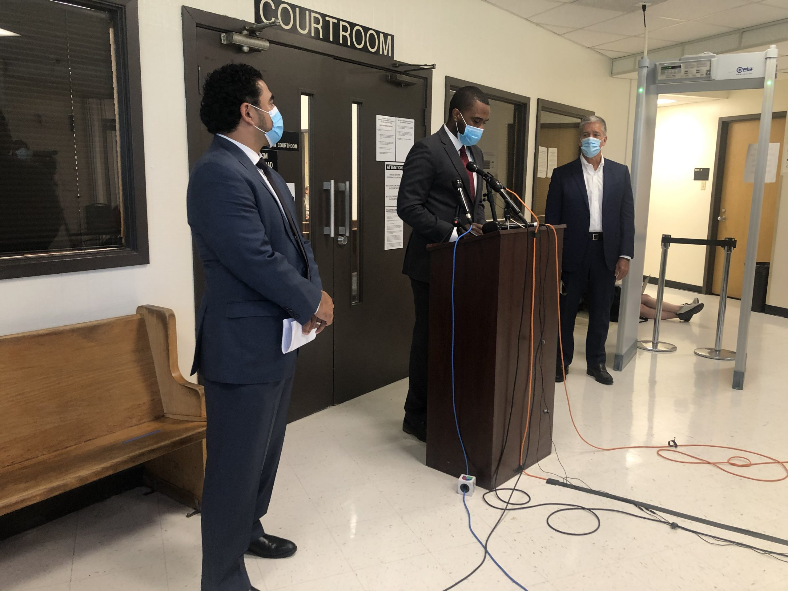 Harris County recovery czar Armando Walle, Judge Jeremy Brown, and Houston recovery czar Marvin Odum announced an eviction task force on June 11.